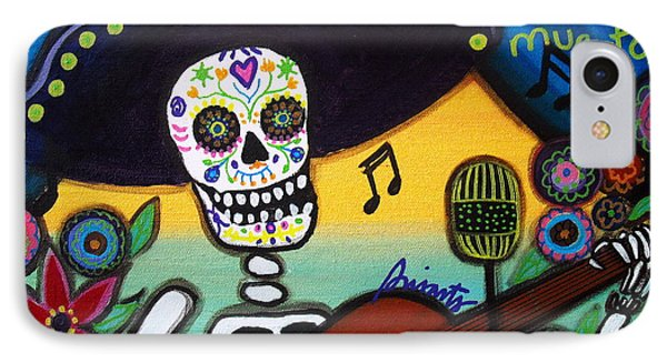IPhone Case featuring the painting Gitarero Day Of The Dead by Pristine Cartera Turkus
