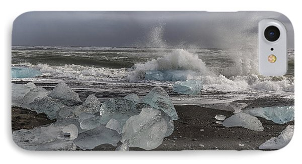 IPhone Case featuring the tapestry - textile Glacial Lagoon Iceland 2 by Kathy Adams Clark