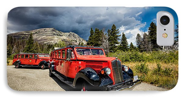Glacier National Park Antique Bus IPhone Case by Andres Leon