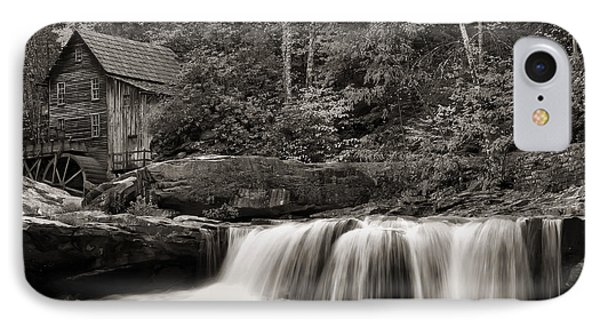 Glade Creek Grist Mill Monochrome IPhone Case by Chris Flees