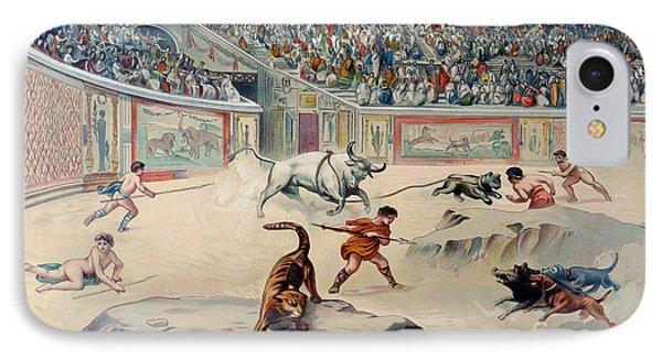 Gladiators Fighting Animals In The Circus At Pompeii IPhone Case by Antonio Niccolini
