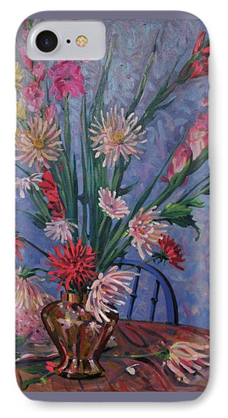 Gladiolas And Dahlias IPhone Case by Donald Maier