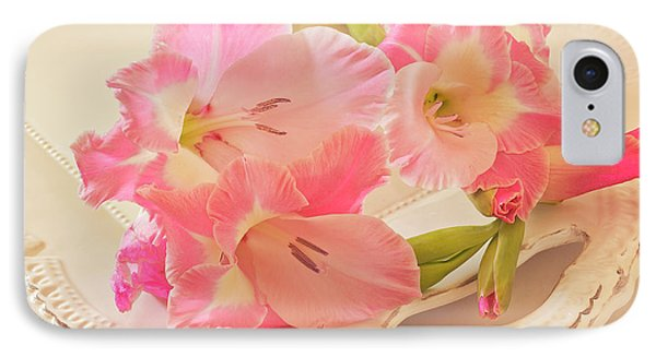 Gladiolas In Pink Phone Case by Sandra Foster