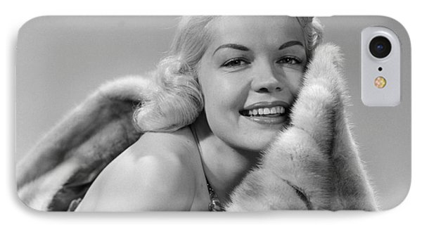 Glamorous Woman With Fur, C.1950s IPhone Case by Debrocke/ClassicStock