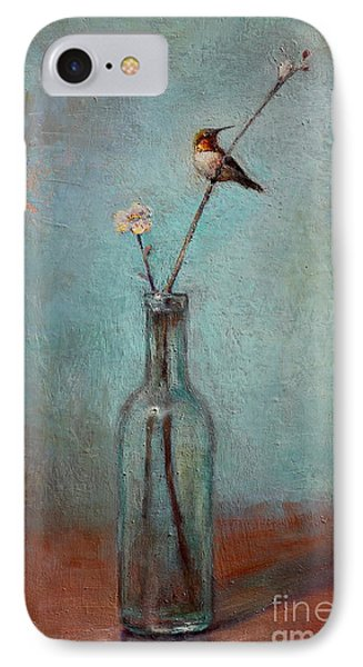 Glass Bottle And Hummingbird IPhone Case by Lori  McNee