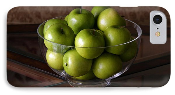 Glass Bowl Of Green Apples  Phone Case by Michael Ledray