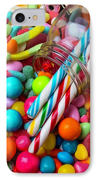 Glass Jar Spilling Candy IPhone Case by Garry Gay