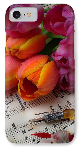 Glass Pens And Tulips IPhone Case by Garry Gay