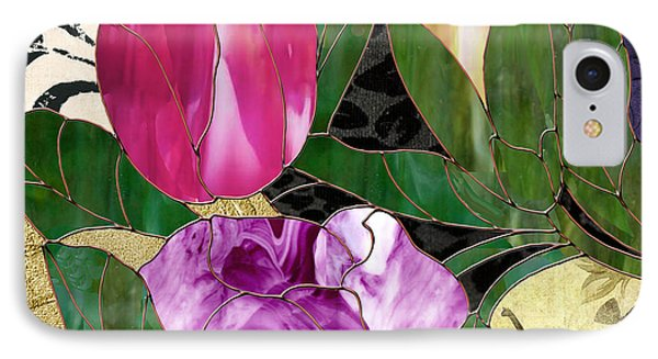 Glassberry Stained Glass Rose IPhone Case by Mindy Sommers