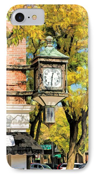IPhone 7 Case featuring the painting Glen Ellyn Corner Clock by Christopher Arndt