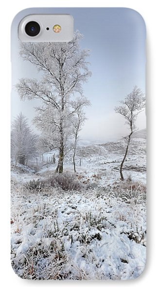 IPhone Case featuring the photograph Glen Shiel Misty Winter Trees by Grant Glendinning