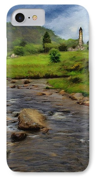 IPhone Case featuring the painting Glendalough In The Distance by Jeff Kolker