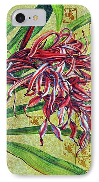 IPhone Case featuring the drawing Glorious Crinum by Suzanne McKee