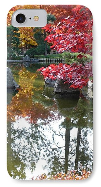 Glorious Fall Colors Reflection With Border Phone Case by Carol Groenen