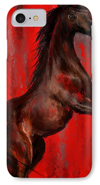 Glorious Red - Arabian Horse Painting IPhone Case by Lourry Legarde