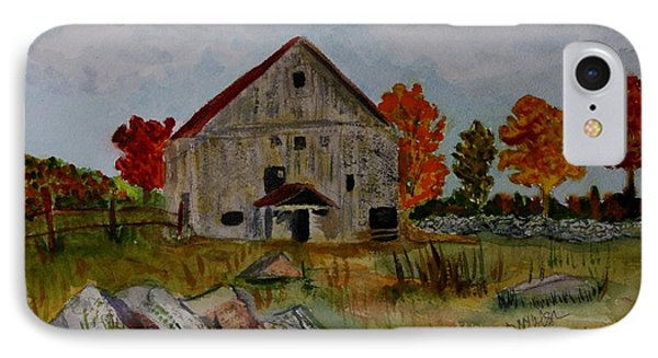 IPhone Case featuring the painting Glover Barn In Autumn by Donna Walsh