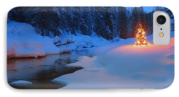 Glowing Christmas Tree By Mountain Phone Case by Carson Ganci
