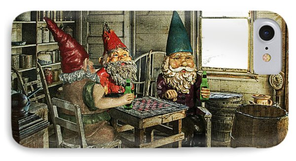 Gnomes Playing Checkers IPhone Case by Randall Nyhof