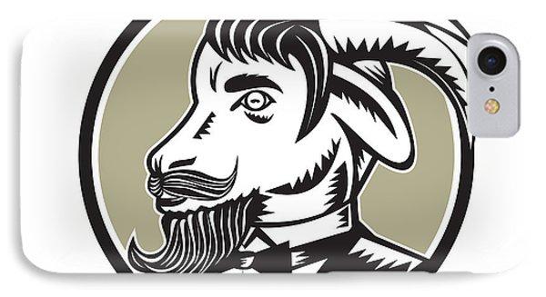 Goat Beard Tuxedo Circle Woodcut IPhone Case