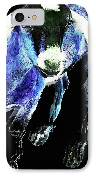 Goat Pop Art - Blue - Sharon Cummings IPhone 7 Case by Sharon Cummings