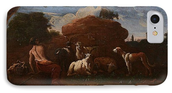 Goatherd Resting With Cattle IPhone Case by Philipp Peter Roos