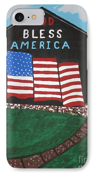 IPhone Case featuring the painting God Bless America Barn by Jeffrey Koss
