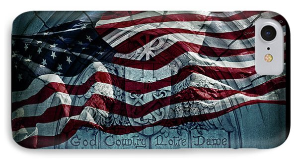 God Country Notre Dame American Flag IPhone Case by John Stephens