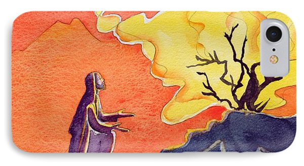 God Speaks To Moses From The Burning Bush Phone Case by Elizabeth Wang