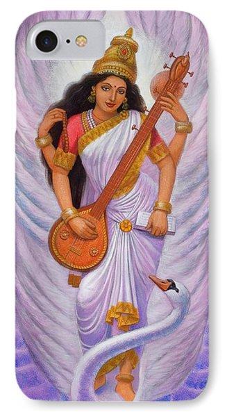 Goddess Saraswati IPhone Case by Sue Halstenberg