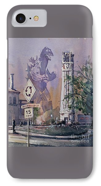 IPhone Case featuring the painting Godzilla Smash Ncsu- Raleigh by Ryan Fox