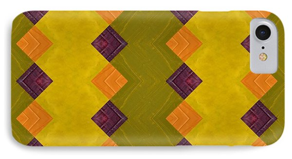 IPhone Case featuring the painting Gold And Green With Orange  by Michelle Calkins