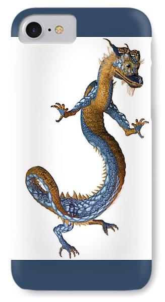 Gold Blue Dragon IPhone Case