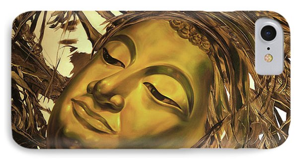 IPhone Case featuring the painting Gold Buddha Head by Chonkhet Phanwichien