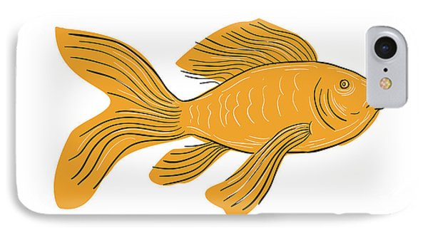 Gold Butterfly Koi Swimming Drawing IPhone Case