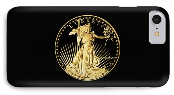 Gold Coin Front IPhone Case by Phyllis Denton