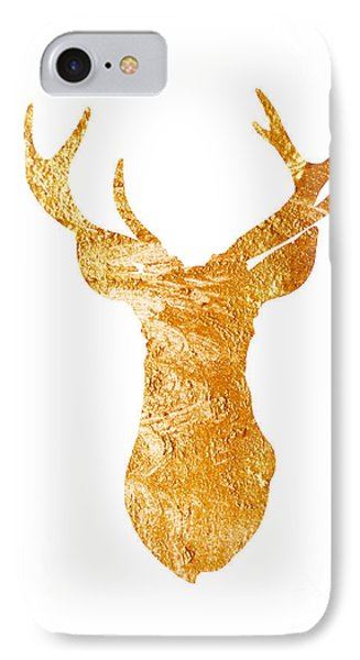 Gold Deer Silhouette Watercolor Art Print IPhone Case by Joanna Szmerdt