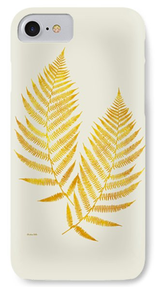 IPhone 7 Case featuring the mixed media Gold Fern Leaf Art by Christina Rollo