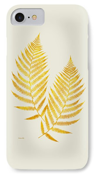 IPhone Case featuring the mixed media Gold Fern Leaf Art by Christina Rollo