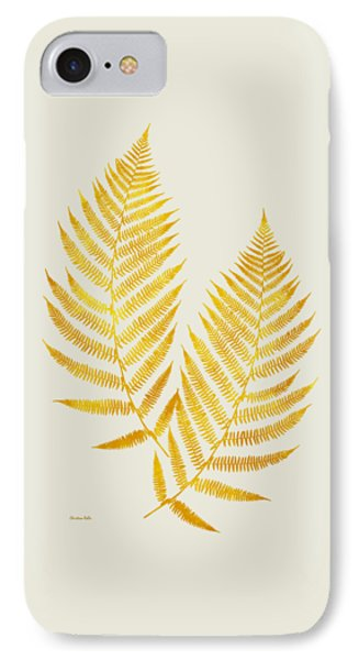 Gold Fern Leaf Art IPhone Case
