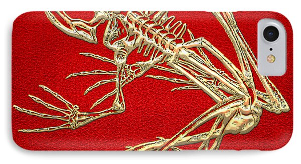 Gold Frog Skeleton On Red Leather IPhone Case