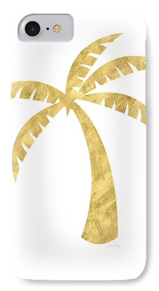 Gold Palm Tree- Art By Linda Woods IPhone Case by Linda Woods