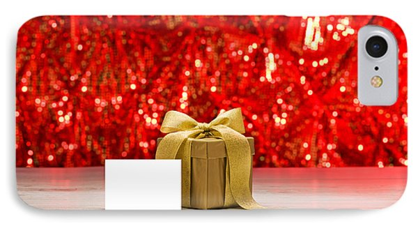 IPhone Case featuring the photograph Gold Present With Place Card  by Ulrich Schade