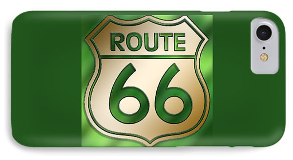 IPhone Case featuring the digital art Gold Route 66 Sign by Chuck Staley