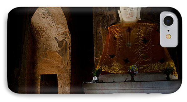 IPhone Case featuring the photograph Gold Shrouded Buddha In Burma Basks In Natural Light By Temple Portal by Jason Rosette