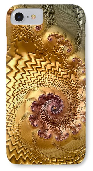 Gold Silver Copper Spirals And Waves Fractal Art IPhone Case by Matthias Hauser
