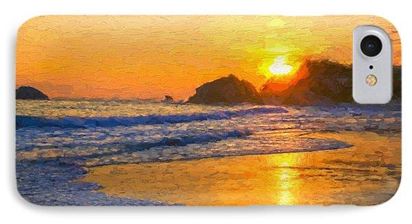 Gold Sunset Beach  IPhone Case by Garland Johnson