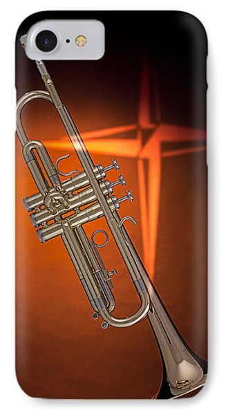 Gold Trumpet With Cross On Orange Phone Case by M K  Miller