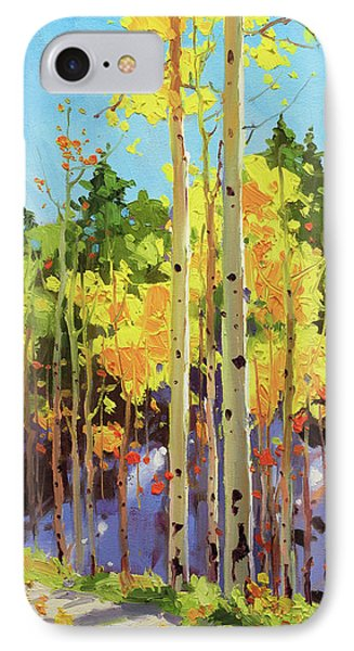 Golden Aspen In Early Snow IPhone Case by Gary Kim