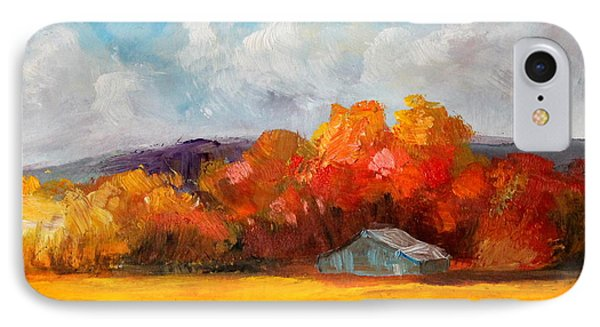 Golden Autumn Blue Country Horse Barn IPhone Case