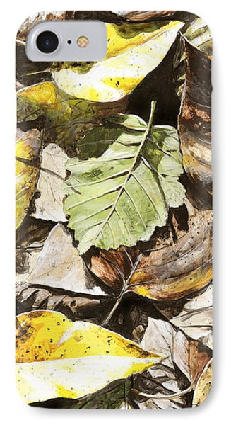 IPhone Case featuring the painting Golden Autumn - Talkeetna Leaves by Karen Whitworth